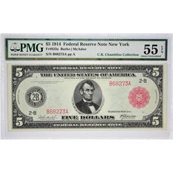 Fr. 833a. 1914 $5 Federal Reserve Note. Red Seal. New York. PMG Choice About Uncirculated 55 EPQ.