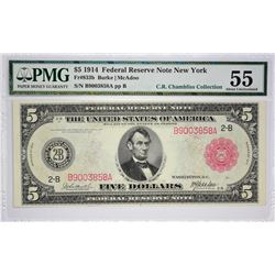 Fr. 833b. 1914 $5 Federal Reserve Note. Red Seal. New York. PMG About Uncirculated 55.