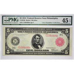 Fr. 834b. 1914 $5 Federal Reserve Note. Red Seal. Philadelphia. PMG Choice Extremely Fine 45 EPQ.