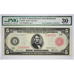 Fr. 836b. 1914 $5 Federal Reserve Note. Red Seal. Richmond. PMG Very Fine 30.