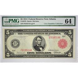 Fr. 837b. 1914 $5 Federal Reserve Note. Red Seal. Atlanta. PMG Choice Uncirculated 64.