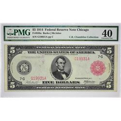 Fr. 838a. 1914 $5 Federal Reserve Note. Red Seal. Chicago. PMG Extremely Fine 40.