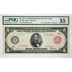 Fr. 839. 1914 $5 Federal Reserve Note. Red Seal. St. Louis. PMG Choice Very Fine 35.