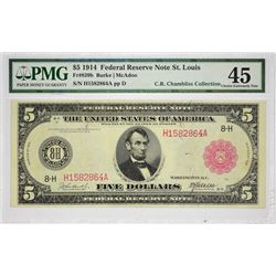 Fr. 839b. 1914 $5 Federal Reserve Note. Red Seal. St. Louis. PMG Choice Extremely Fine 45.