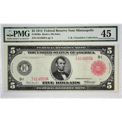 Fr. 840a. 1914 $5 Federal Reserve Note. Red Seal. Minneapolis. PMG Choice Extremely Fine 45.