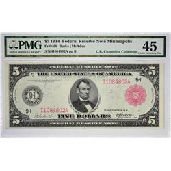 Fr. 840b. 1914 $5 Federal Reserve Note. Red Seal. Minneapolis. PMG Choice Extremely Fine 45.
