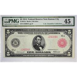 Fr. 841a. 1914 $5 Federal Reserve Note. Red Seal. Kansas City. PMG Choice Extremely Fine 45.