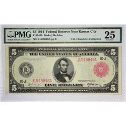 Fr. 841b. 1914 $5 Federal Reserve Note. Red Seal. Kansas City. PMG Very Fine 25.