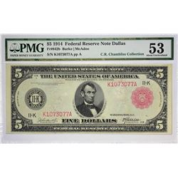 Fr. 842b. 1914 $5 Federal Reserve Note. Red Seal. Dallas. PMG About Uncirculated 53.