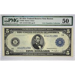 Fr. 845. 1914 $5 Federal Reserve Note. Blue Seal. Boston. PMG About Uncirculated 50.
