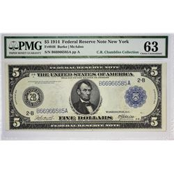 Fr. 848. 1914 $5 Federal Reserve Note. Blue Seal. New York. PMG Choice Uncirculated 63.