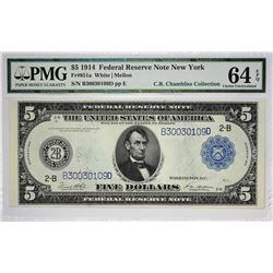 Fr. 851a. 1914 $5 Federal Reserve Note. Blue Seal. New York. PMG Choice Uncirculated 64 EPQ.