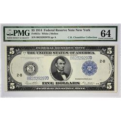 Fr. 851c. 1914 $5 Federal Reserve Note. Blue Seal. New York. PMG Choice Uncirculated 64.