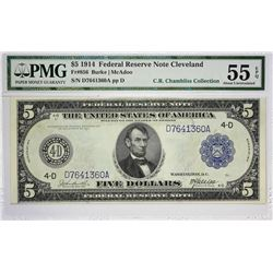 Fr. 856. 1914 $5 Federal Reserve Note. Blue Seal. Cleveland. PMG About Uncirculated 55 EPQ.