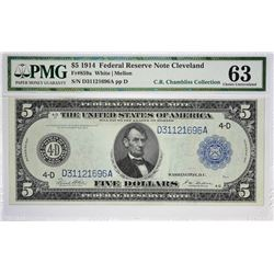 Fr. 859a. 1914 $5 Federal Reserve Note. Blue Seal. Cleveland. PMG Choice Uncirculated 63.