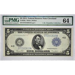 Fr. 859c. 1914 $5 Federal Reserve Note. Blue Seal. Cleveland. PMG Choice Uncirculated 64.