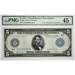 Fr. 866. 1914 $5 Federal Reserve Note. Blue Seal. Atlanta. PMG Choice Extremely Fine 45.