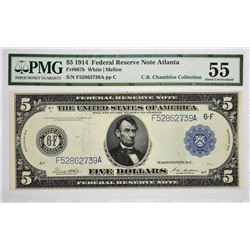 Fr. 867b. 1914 $5 Federal Reserve Note. Blue Seal. Atlanta. PMG About Uncirculated 55.