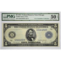 Fr. 869. 1914 $5 Federal Reserve Note. Blue Seal. Chicago. PMG About Uncirculated 50 EPQ.