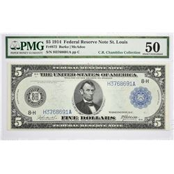 Fr. 872. 1914 $5 Federal Reserve Note. Blue Seal. St. Louis. PMG About Uncirculated 50.