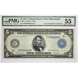 Fr. 877. 1914 $5 Federal Reserve Note. Blue Seal. Minneapolis. PMG About Uncirculated 55.