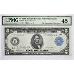 Fr. 878. 1914 $5 Federal Reserve Note. Blue Seal. Minneapolis. PMG Choice Extremely Fine 45.