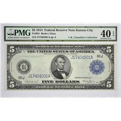 Fr. 881. 1914 $5 Federal Reserve Note. Blue Seal. Kansas City. PMG Extremely Fine 40 EPQ.