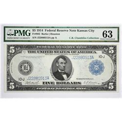 Fr. 882. 1914 $5 Federal Reserve Note. Blue Seal. Kansas City. PMG Choice Uncirculated 63.