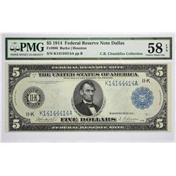 Fr. 886. 1914 $5 Federal Reserve Note. Blue Seal. Dallas. PMG Choice About Uncirculated 58 EPQ.