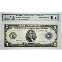 Fr. 887b. 1914 $5 Federal Reserve Note. Blue Seal. Dallas. PMG Gem Uncirculated 65 EPQ. A very diffi