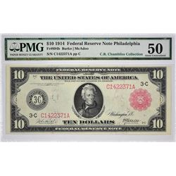 Fr. 894b. 1914 $10 Federal Reserve Note. Red Seal. Philadelphia. PMG About Uncirculated 50.