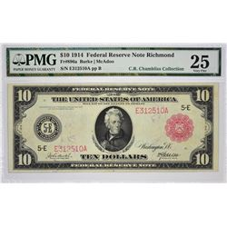Fr. 896a. 1914 $10 Federal Reserve Note. Red Seal. Richmond. PMG Very Fine 25.