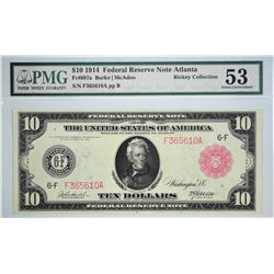 Fr. 897a. 1914 $10 Federal Reserve Note. Red Seal. Atlanta. PMG About Uncirculated 53. Track & Price