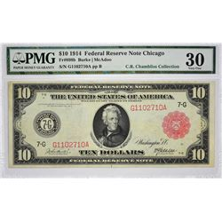 Fr. 898b. 1914 $10 Federal Reserve Note. Red Seal. Chicago. PMG Very Fine 30.