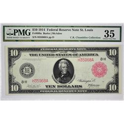 Fr. 899a. 1914 $10 Federal Reserve Note. Red Seal. St. Louis. PMG Choice Very Fine 35.