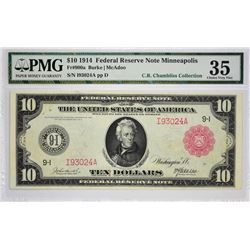 Fr. 900a. 1914 $10 Federal Reserve Note. Red Seal. Minneapolis. PMG Choice Very Fine 35.