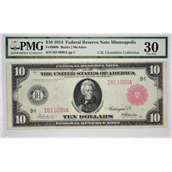 Fr. 900b. 1914 $10 Federal Reserve Note. Red Seal. Minneapolis. PMG Very Fine 30.