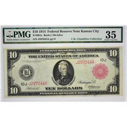 Fr. 901a. 1914 $10 Federal Reserve Note. Red Seal. Kansas City. PMG Choice Very Fine 35.