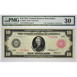 Fr. 902a. 1914 $10 Federal Reserve Note. Red Seal. Dallas. PMG Very Fine 30.