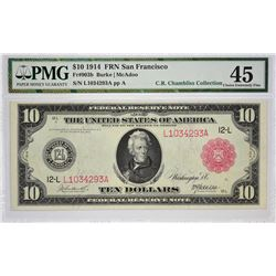 Finest PMG Certified Fr. 903b Fr. 903b. 1914 $10 Federal Reserve Note. Red Seal. San Francisco. PMG