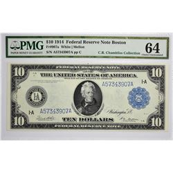 Fr. 907a. 1914 $10 Federal Reserve Note. Blue Seal. Boston. PMG Choice Uncirculated 64.