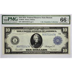 Fr. 907b. 1914 $10 Federal Reserve Note. Blue Seal. Boston. PMG Gem Uncirculated 66 EPQ.