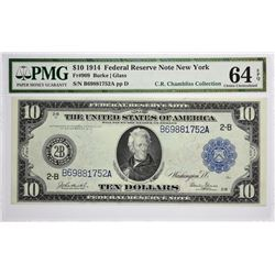 Fr. 909. 1914 $10 Federal Reserve Note. Blue Seal. New York. Choice Uncirculated 64 EPQ.