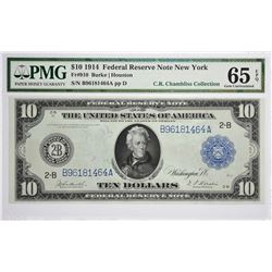 Fr. 910. 1914 $10 Federal Reserve Note. Blue Seal. New York. PMG Gem Uncirculated 65 EPQ.