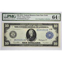 Fr. 911b. 1914 $10 Federal Reserve Note. Blue Seal. New York. PMG Choice Uncirculated 64 EPQ.