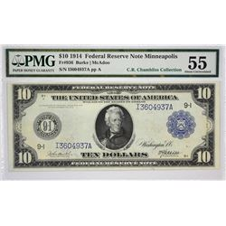Fr. 936. 1914 $10 Federal Reserve Note. Blue Seal. Minneapolis. PMG About Uncirculated 55.
