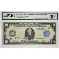 Fr. 938. 1914 $10 Federal Reserve Note. Blue Seal. Minneapolis. PMG Very Fine 30.