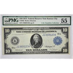 Fr. 942. 1914 $10 Federal Reserve Note. Blue Seal. Kansas City. PMG About Uncirculated 55.