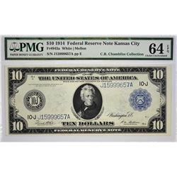 Fr. 943a. 1914 $10 Federal Reserve Note. Blue Seal. Kansas City. PMG Choice Uncirculated 64 EPQ.