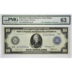 Fr. 944. 1914 $10 Federal Reserve Note. Blue Seal. Dallas. PMG Choice Uncirculated 63.